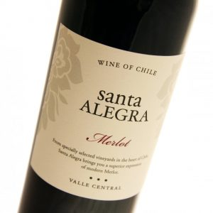 Great Merlot from Santa Alegra produced from selected vineyards in the heart of Chile