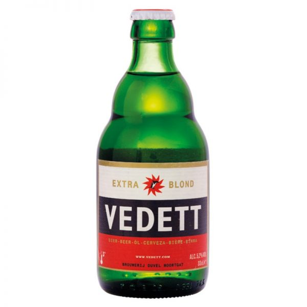 Vidett, Extra Blond pilsner presented in a shapely green bottle with bright label
